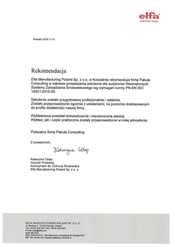 Elfa Referencje ISO 14001