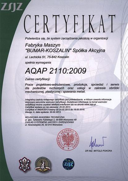 Bumar Certyfikat AQAP 2110