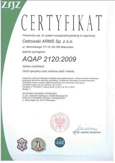 Certyfikat AQAP 2120 Ostrowski