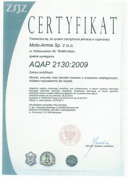Certyfikacja AQAP 2130 Moto Armia